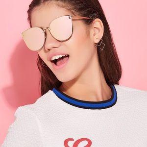Accessories - Women's Rose Gold Cat Eye Mirrored Sunglasses